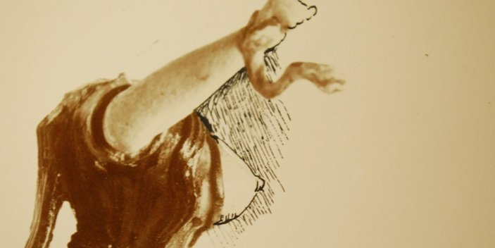 Foto von Figur der Schlangengöttin mit gezeichneten Brüsten und Kopf-Rekonstruktionen, Archive des Ashmolean Museums in Oxford
