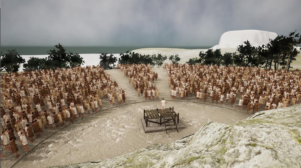 Pnyx II mit Volksversammlung (Ansicht in Unity)
