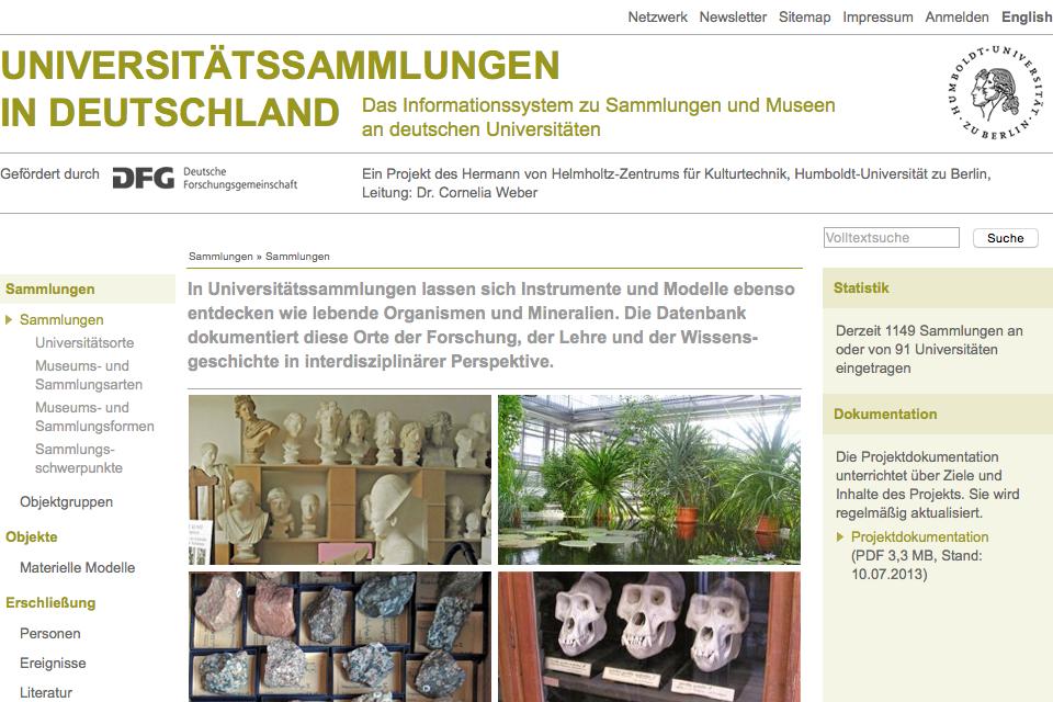 Webseitenausschnitt Universitätssammlungen