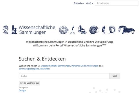 Webseitenausschnitt Wissenschaftliche Sammlungen